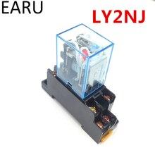LY2NJ HH62P 1 pièce   Micro électronique, Mini relais électromagnétique 10A, bobine 8PIN DPDT avec Base de prise DC12V,24V AC110,220V