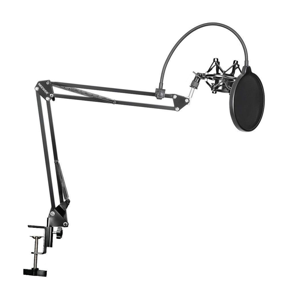 Держатель для микрофона Neewer, ножничная подставка для микрофона с зажимом, монтажный зажим для стола, фильтр NW, щиток для ветрового стекла, Ме...