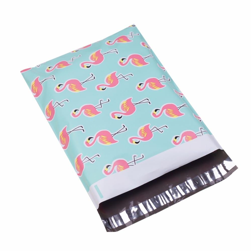 100 Uds 25,5*33 cm 10*13 pulgadas patrón de flamenco poli Mailers bolsas de plástico para sobres de correo autoselladas