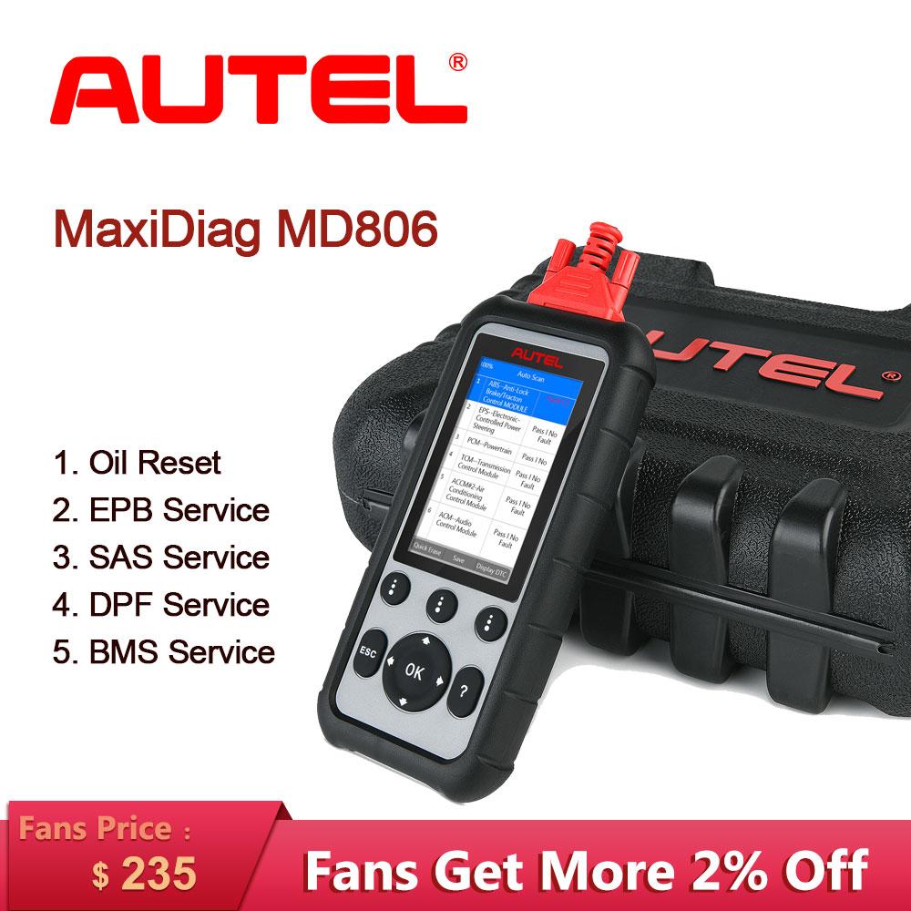Herramienta de diagnóstico para coche Autel MaxiDiag MD806, escáner automotriz OBD2, herramienta de escaneo automático, lector de código, diagnóstico de prueba de motor para coche