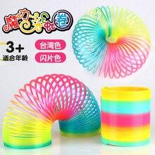 1 pièces 8.7*9cm grande taille arc-en-ciel cercle ressort bobine anneau magique enfants décompression jouets drôle cadeau flexible transformation jouet cadeaux