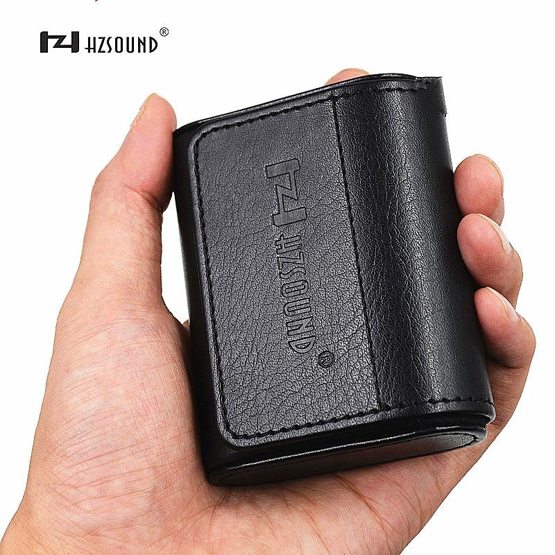 Nova hz hzsound caso de couro na caixa saco fone de ouvido fones caso portátil acessórios fone de ouvido saco armazenamento