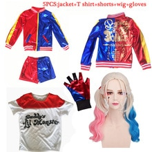 Filles enfants Harley Quinn Costumes Cosplay film Suicide équipe Halloween pourim veste ensembles noël fille enfants cadeaux danniversaire