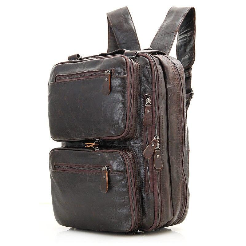 Nesitu-حقيبة ظهر من الجلد الطبيعي باللون الأسود والبني للرجال والنساء ، حقيبة سفر ، حقيبة كتف ، # M7014