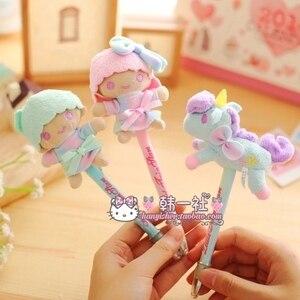 hairy Doll unicorn ballpoint pen ship randomly black ink can be replaced 20cm long free shipping