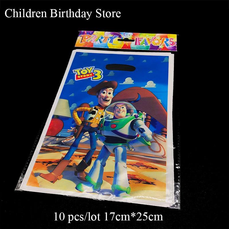 Lote de 10 unidades de bolsas para regalo de Toy Story, bolsas para Decoración de cumpleaños para niños, bolsas plásticas de dulces, bolsas para botín de Toy Story