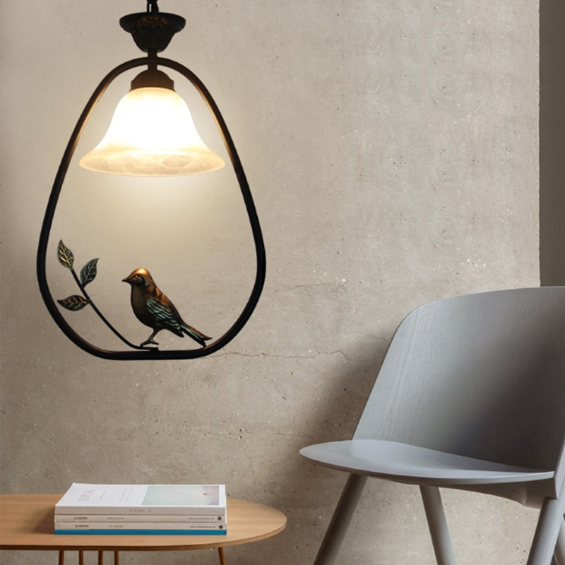 Nueva lámpara colgante de hierro china, creativa Lámpara decorativa para dormitorio, pasillo nórdico, pájaro E27, lámpara de iluminación