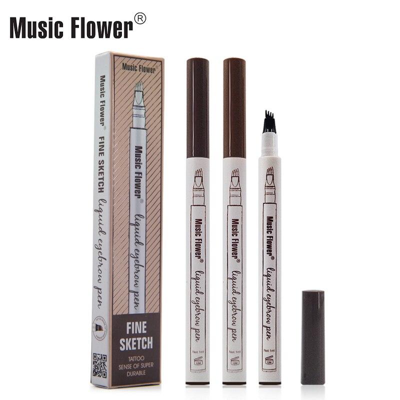 Bolígrafo de tinta para tatuaje de cejas a prueba de agua Music Flower, lápiz de tatuaje para cejas ultrafino para tallar cejas, lápiz de tatuaje a prueba de sudor, 4 horquillas