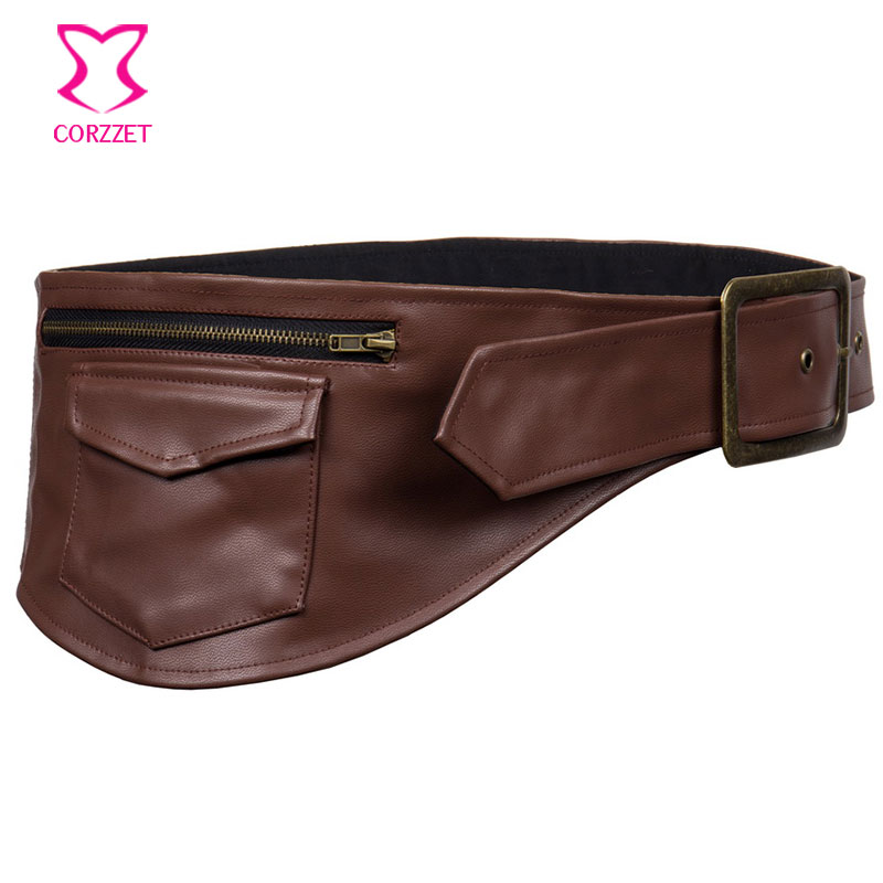 Коричневая Кожаная поясная сумка, карманный ремень в стиле стимпанк, сумка-Корсеты и привлекательные бурлескные костюмы-бюстье, аксессуары...