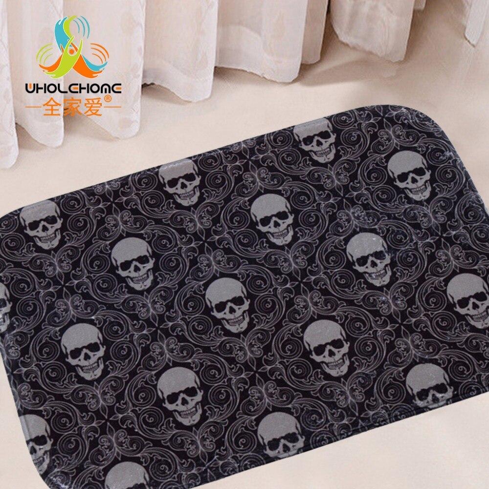 40x60cm/15.6x23.6 Skull Mat Floor Carpet Letter Coral Fleece Rug Doormat For Hallway Non-slip 1PCS/Lot