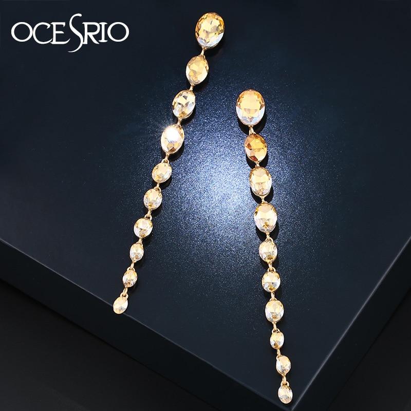 OCESRIO Korean Fashion Super Long Earrings for Women Cristal Gold Crystal Long Chain Earrings Women Accessories kupe ers-m60