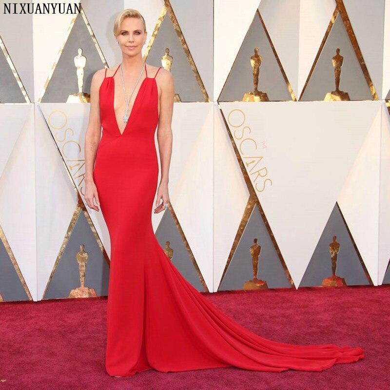 88th Oscars Academy apremios 2020 Charlize Theron vestidos de celebridad con escote profundo en V alfombra roja sirena vestido para fiesta
