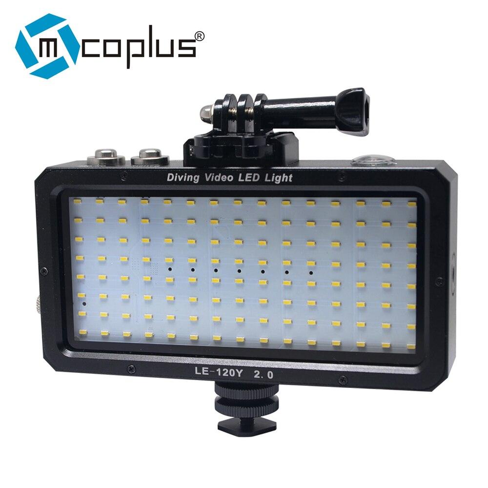 Mcoplus LE-120Y للماء تحت الماء فيديو LED ضوء 25M/82ft 5500K للكاميرا الرقمية GOPRO SJCAM عمل كاميرا