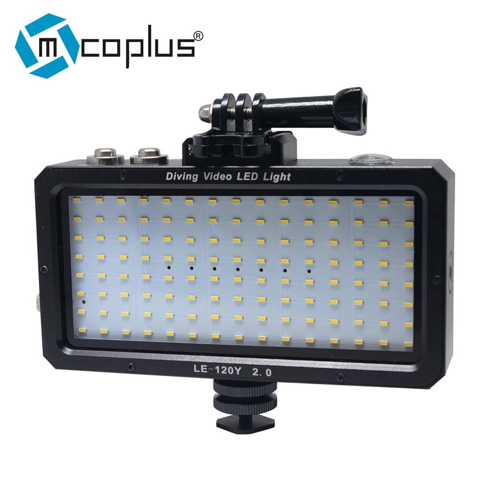 Mcoplus LE-120Y Waterproof  Underwater Video LED light 25M/82ft 5500K for Digital Camera GOPRO SJCAM Action Camera