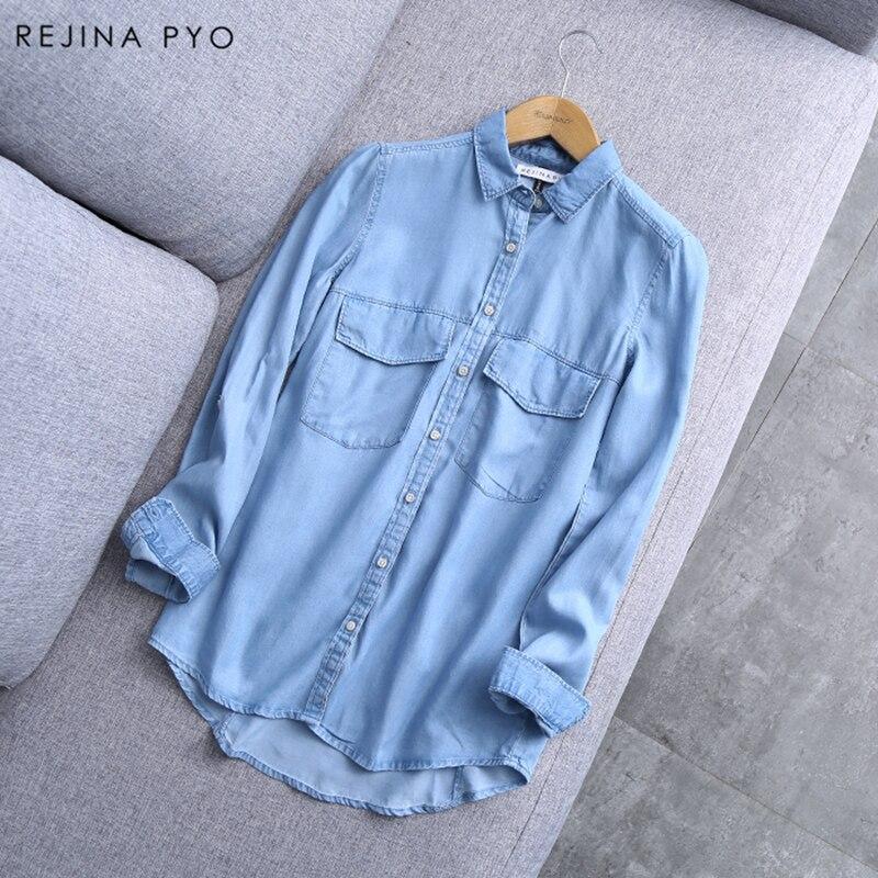 BIAORUINA, novedad de Primavera de 2019, Camisa vaquera de algodón azul para mujer, blusas básicas con botones y bolsillos sólidos para mujer