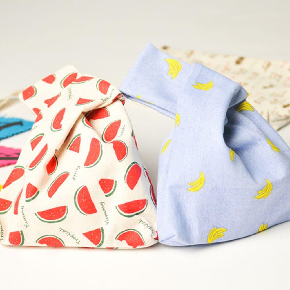 Bolsa de almuerzo cuadrada de algodón portátil, bolsos casuales, bolsos artísticos, bolsos de muñeca a rayas, bolso de moda de estilo japonés