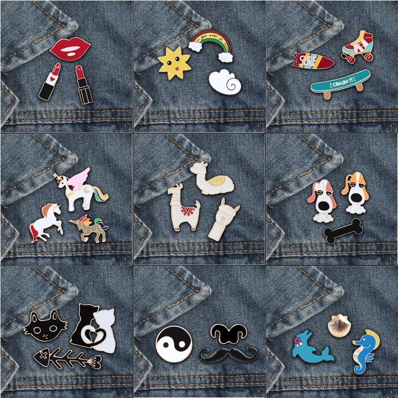 3 шт./компл., модная женская брошка в виде животных, заколки из альпаки, кошки, коня, радуги, брошь с отворотом, рубашка, бейджи, украшения, специальные подарки