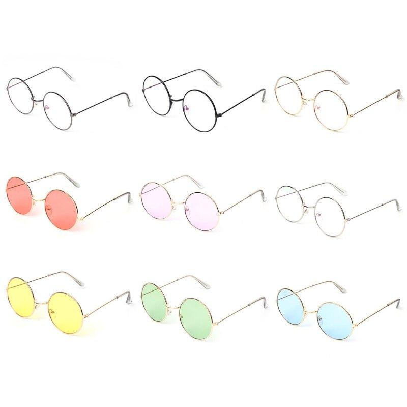 Винтажные круглые солнцезащитные очки, женские зеркальные очки с цветными линзами, брендовые дизайнерские круглые очки с металлической оп...