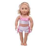 doll clothes polka dot white swimsuit bikini 2 pcs toy accessories fit 18 inch girl doll and 43 cm baby dolls c538