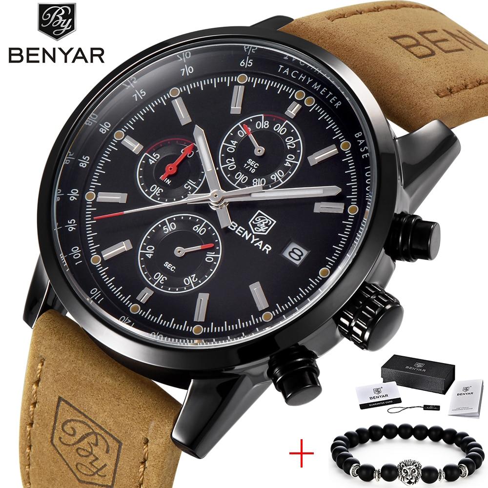 Reloj cronógrafo de moda BENYAR para hombre, reloj de cuarzo de lujo de marca, impermeable, deportivo, militar, reloj de pulsera para hombre