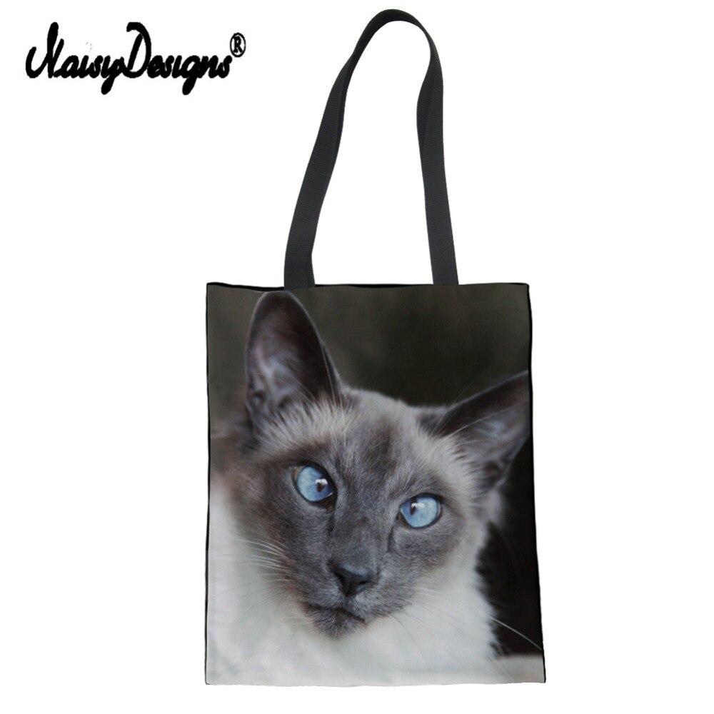 Siamese impressão do gato saco de compras feminino sacos de ombro eco-friendly loja bolsa totes saco de livro melhor amigo presentes dropshipping
