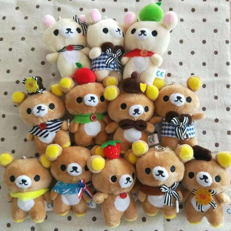 3Pcs 10CM Teddy Bear Stuffed Plush Toys Cute Dress up Bear Pendant Dolls Gifts Birthday Wedding Party Decor