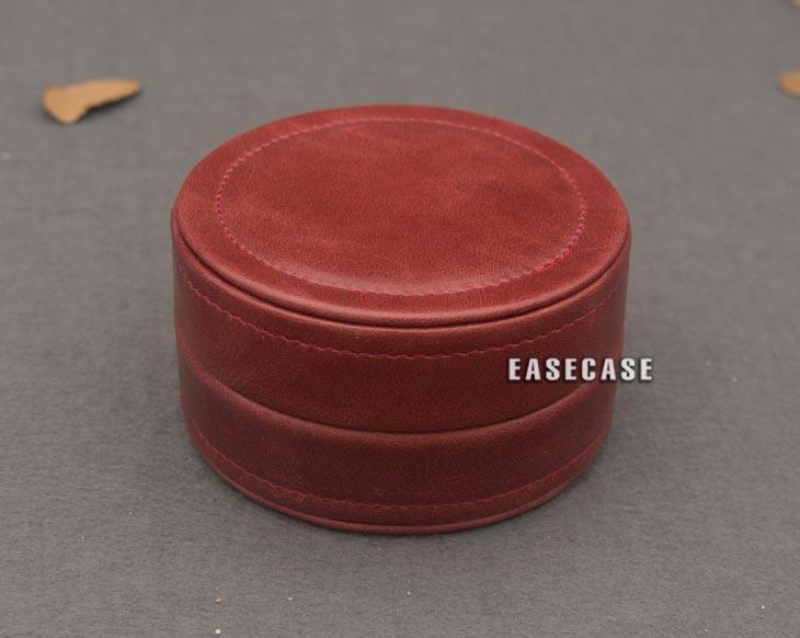 EJ-B EASECASE Custom-Made Genuine Leather Portable Mini Round Case For Earphone Headphone Headset