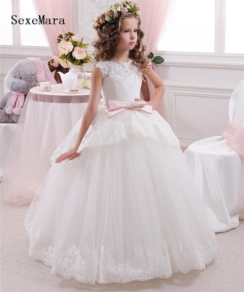 Цветочные платья для девочек, тюлевые кружевные платья с аппликацией для девочек, платья для первого причастия, Детские платья для выпускно...