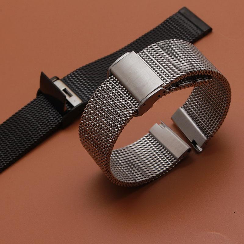 Новые ремешки для часов, 18 мм, 20 мм, 21 мм, 22 мм, 24 мм, серебристый, из нержавеющей стали, сетчатый Браслет, ремешок для часов с застежкой для дайв...