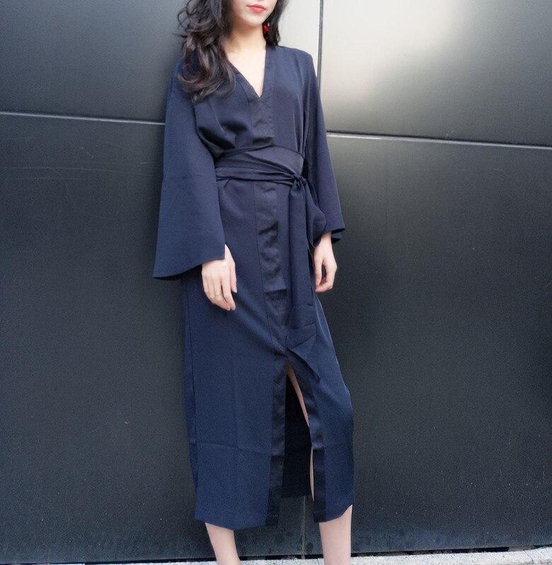 Spring 2018 New Korean v neck Temperament Waist Slim Retro Elegance Thin Chiffon Long loose casual beach dress bandage vestidos
