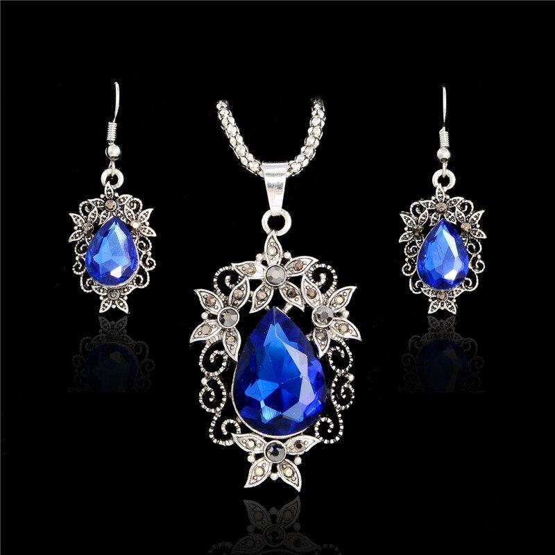 H:HYDE azul conjuntos de joyas de cristal de lujo Vintage gota de agua 4 colores CZ collar y pendientes fino collar de joyería para mujeres