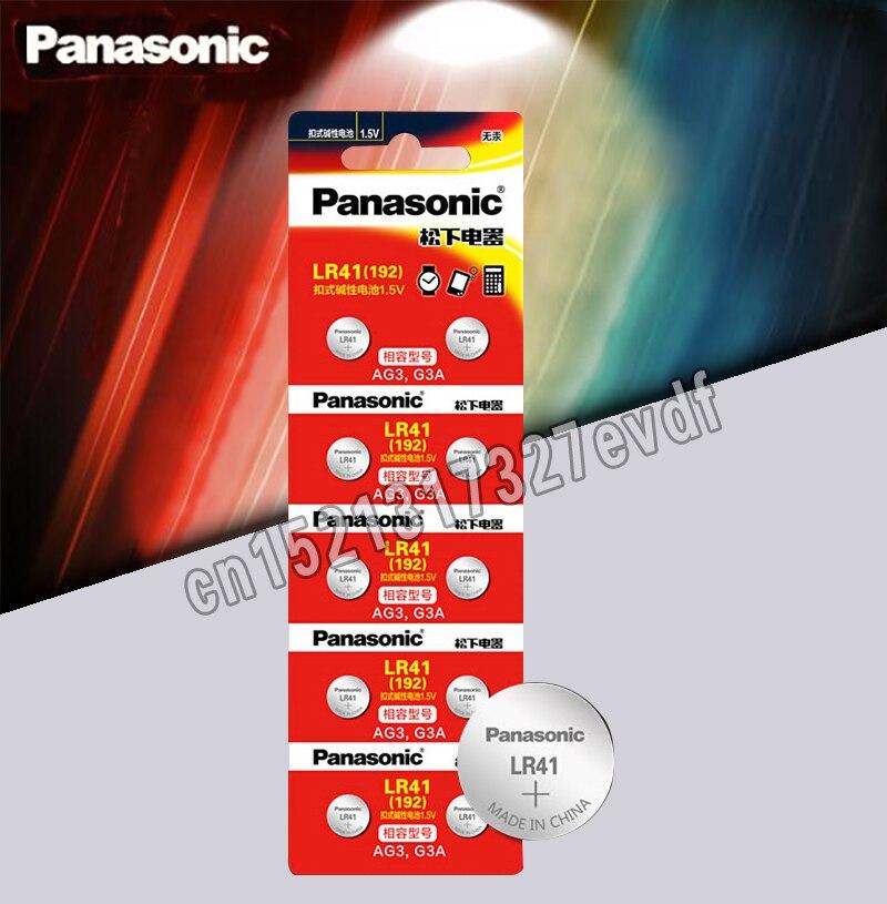 Panasonic baterias de botão orignal 100% LR41, baterias célula de moeda de lítio SR41 AG3 G3A L736 192 392A Zn/MnO2 de 1,5V com 10 peças