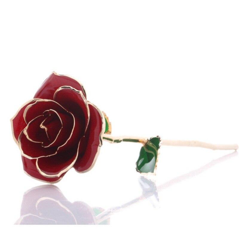 Tallo largo oro 24k de la eternidad Rosa transparente Luna regalo para el Día de San Valentín Día de la madre, aniversario