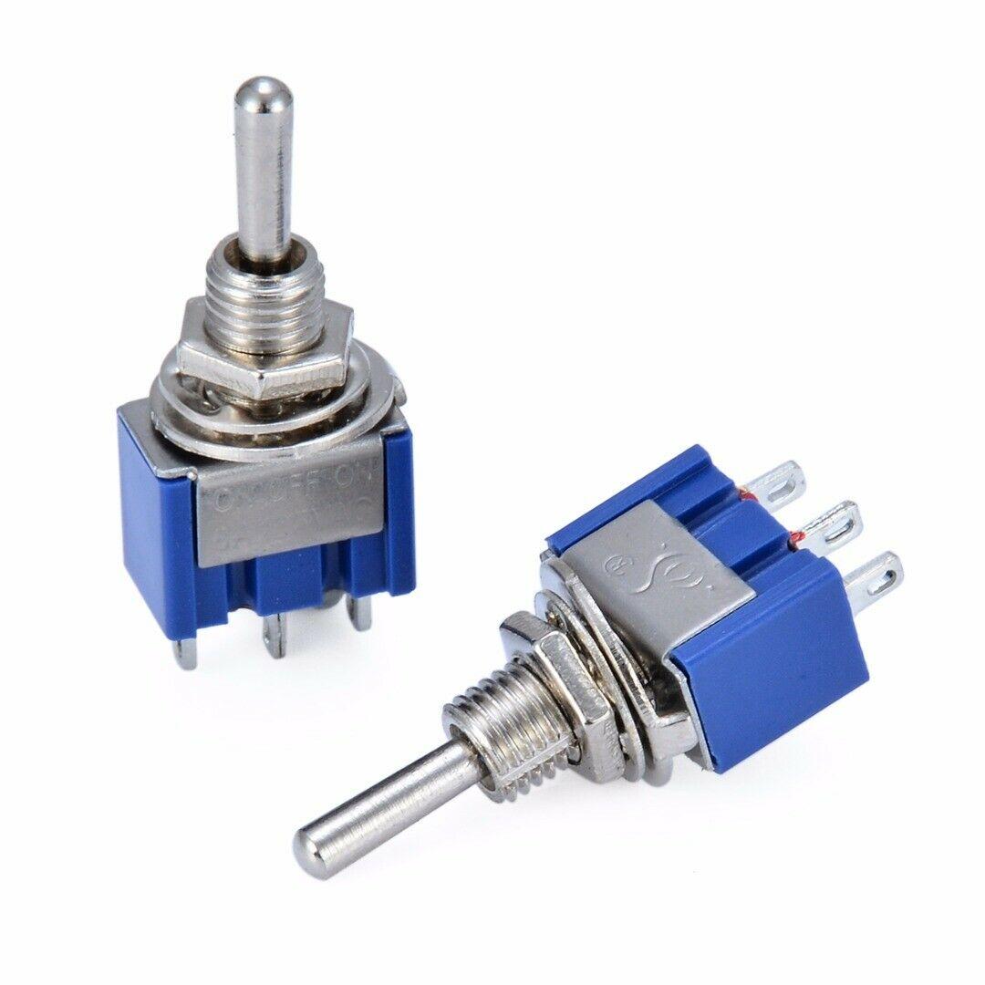 MTS-103 10 Uds interruptor de palanca de Control en miniatura de un solo polo doble tiro SPDT ON-OFF-ON 120VAC 6A 6mm orificio de montaje