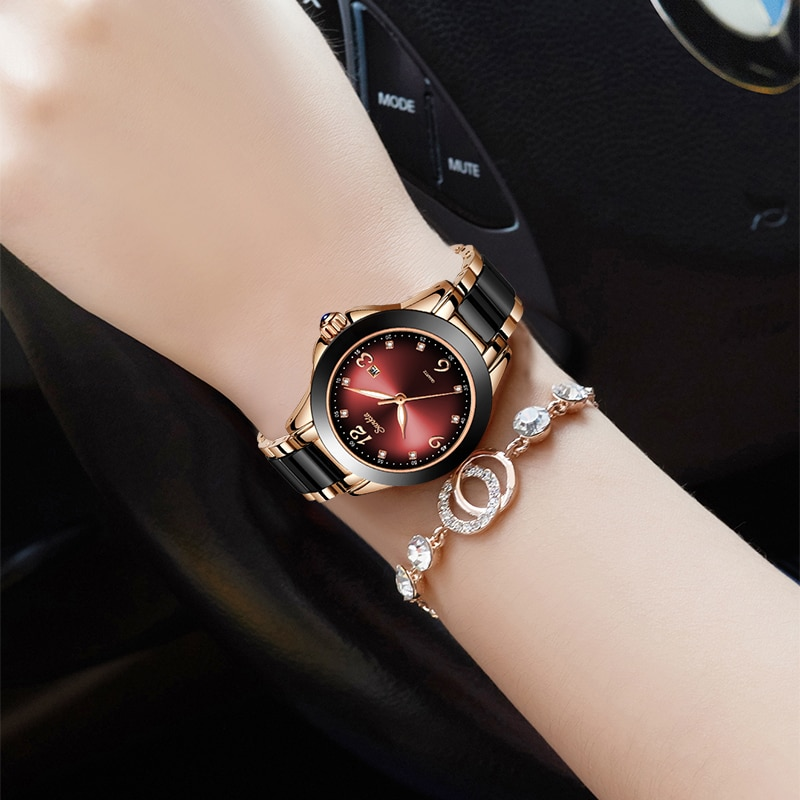 SUNKTA Women Watches Bracelet Watch Ladies Wrist Watch Women Waterproof Fashion Casual Crystal Dial Rose Gold Relojes Para Mujer enlarge