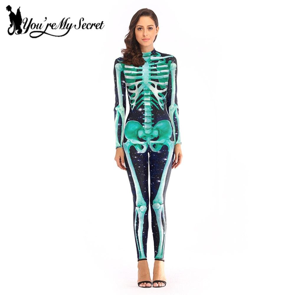 [You Are My Secret] 2019 traje de Cosplay esqueleto Festival de Halloween para mujeres fantástico mono de fiesta de manga larga