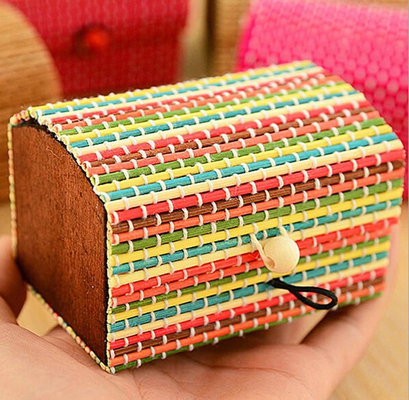 Large Capacity Creative Bamboo Storage Box Soap Box Jewelry Box Lady Makeup Cosmetic Bag Cheap Female Tote W628