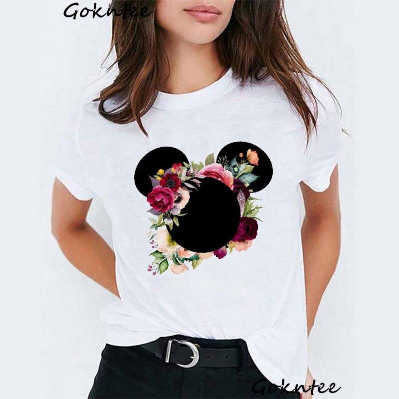Футболка с изображением Минни Маус, женская футболка с розами и ушками мышки