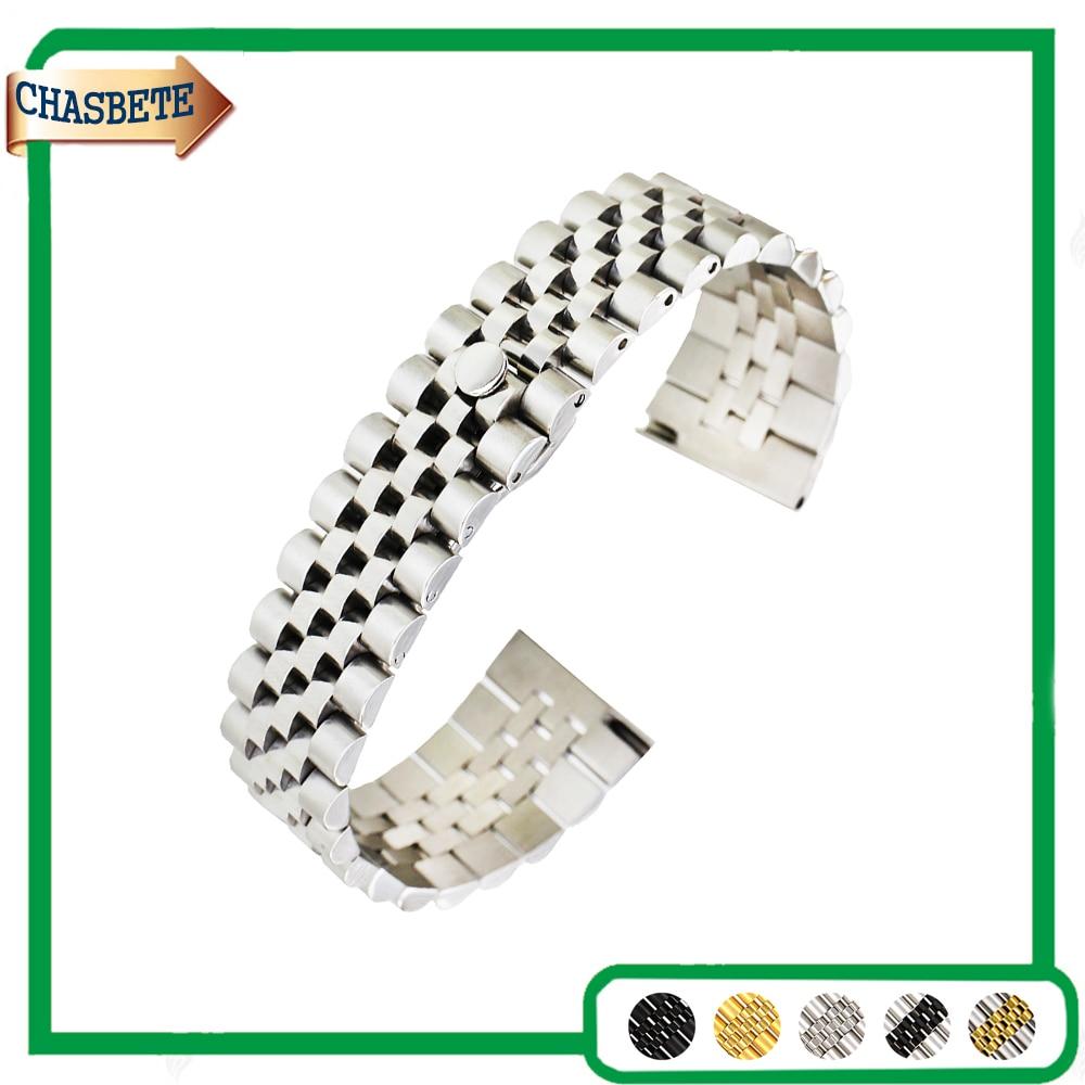Bracelet de montre en acier inoxydable pour Bracelet de montre Orient 18mm 20mm 22mm hommes femmes Bracelet en métal ceinture Bracelet de boucle de poignet noir argent + broche