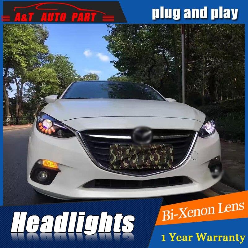 Phare avant style de voiture pour 2014-2016 Mazda 3 Axela LED phares Mazda 3 Axela LED lentille Double faisceau H7 HID xénon bi lentille xénon