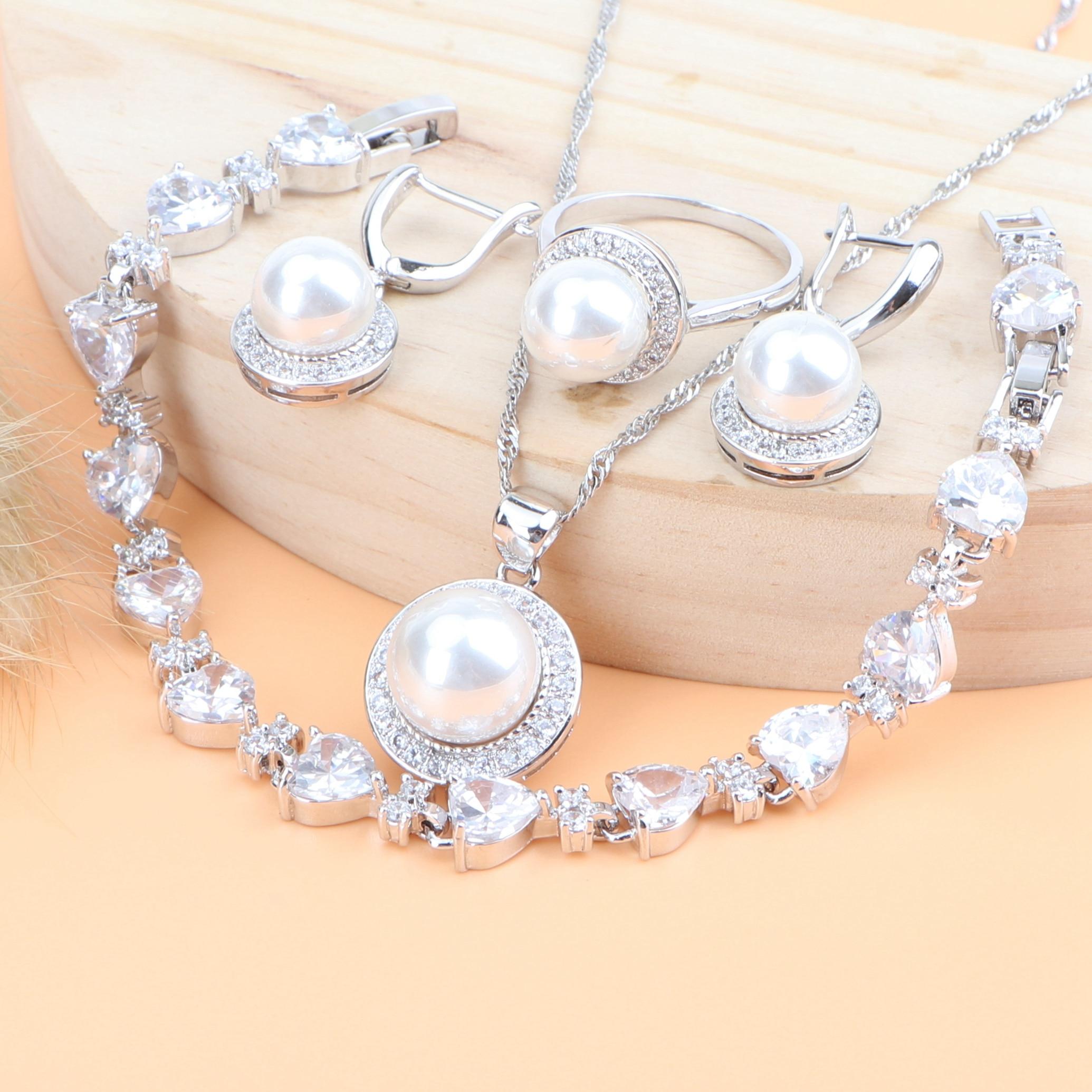Zirconia boda mujeres perla plata 925 conjuntos de joyería nupcial pendientes para disfraces anillos colgante collar pulsera Set caja de regalo