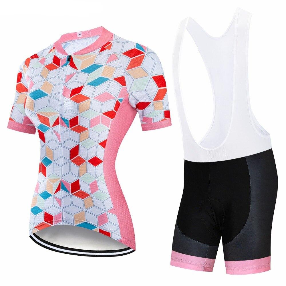 Короткий рукав Ropa Ciclismo для женщин Велоспорт Джерси велосипедная одежда комплект