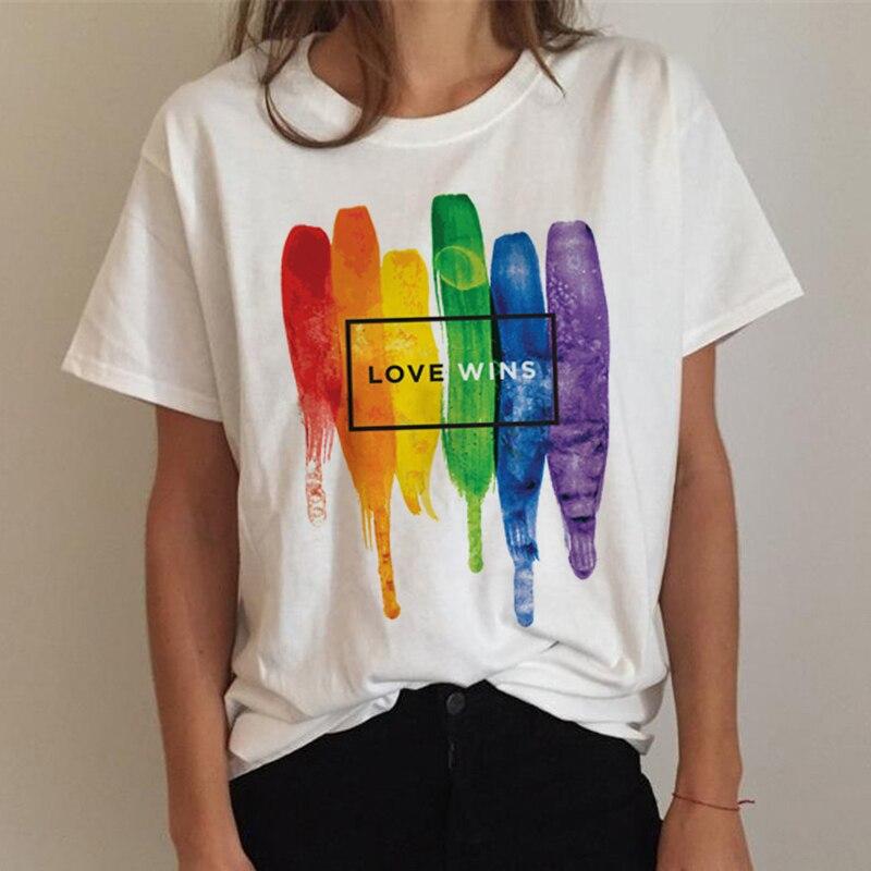 Lgbt gay orgulho lésbica arco-íris t camisa superior tees feminino grunge japonês harajuku kawaii t camisa harajuku kawaii streetwear