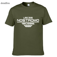 Nostromo Alien yabancılar Scifi Tribute T-shirt erkek komik yaz pamuk T Shirt Tees Tops