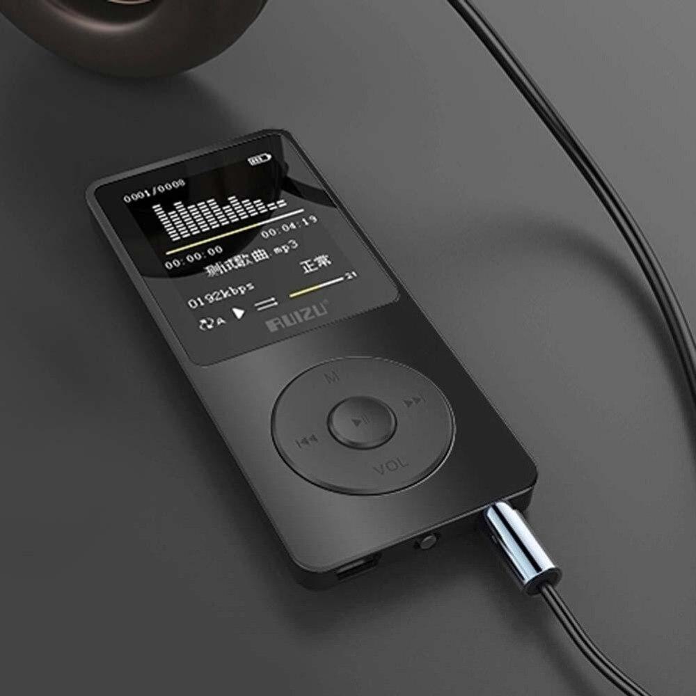 Reproductor Mp3 ultradelgado RUIZU X02 Usb 4Gb almacenamiento Pantalla de 1,8 pulgadas reproducción 80h alta calidad reproductores Mp3 Radio Fm E-Book reproductor de música