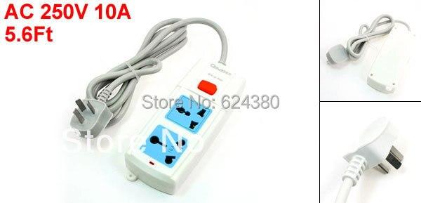 1.7M 5.6Ft Cable AC 250V 16A AU EU UK US Multi Type Socket Two 2 Outlet Power Strip Bar