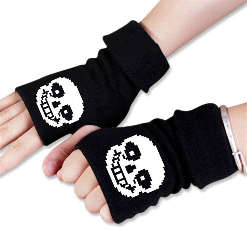 Multi Style Men Women Anime Cartoon Undertale Skeleton Sans Winter Warm Half Finger Glove Cosplay Accessories