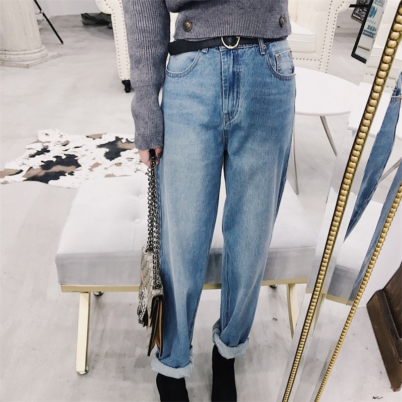 2020 spring Hong Kong wind vintage washed old radish loose was thin-cut jeans