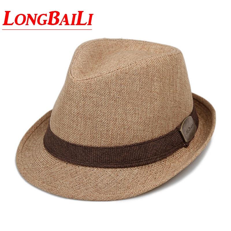 Летняя мужская соломенная фетровая шляпа Chapeu Masculino Sun Панама Шляпы Трилби лен джаз Бесплатная доставка SDDS037