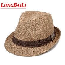 Summer Men Straw Fedora Hats Chapeu Masculino Sun Panama Trilby Caps Linen Jazz Free Shipping SDDS037